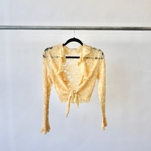 Canary Yellow lace Crop long - sleeve.